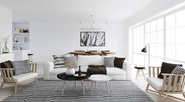 Blanco, negro y un toque de madera