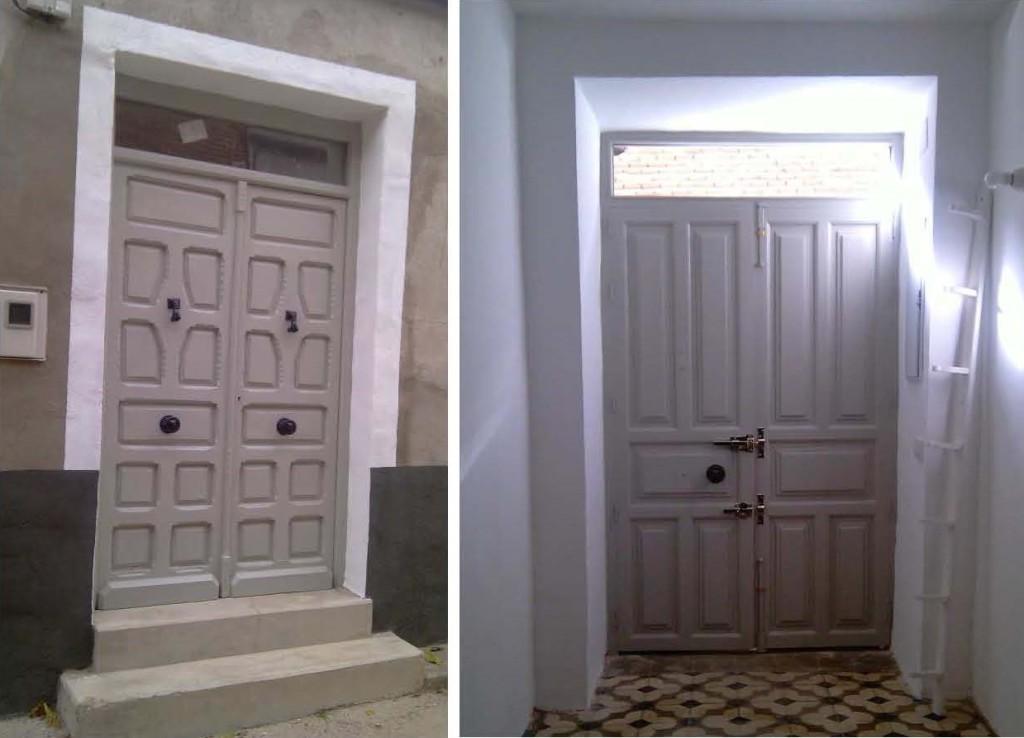 cara exterior e interior de la puerta ya restaurada