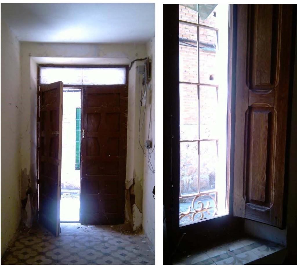 puerta y ventana antes de la restauración